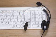 电话推销、电话中心或者客户服务 免版税图库摄影