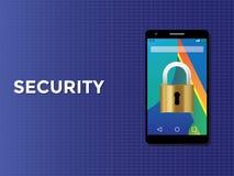 电话智能手机与挂锁的安全概念 库存图片