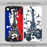 电话有手拉的法国例证的盒盖子 设计与旗子、大厦和字法小配件的 也corel凹道例证向量 库存照片