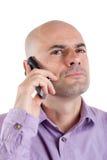 电话的严重的人 免版税库存图片