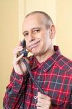 电话的乏味人 图库摄影