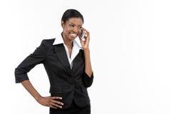 电话的女实业家 免版税库存图片