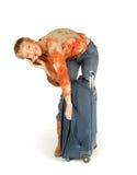 电话的妇女带着手提箱 免版税库存图片
