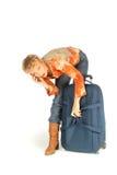电话的妇女带着手提箱 免版税库存照片