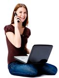 电话的妇女 免版税库存照片