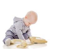 电话的孩子 免版税库存图片