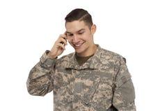 电话的战士 免版税图库摄影