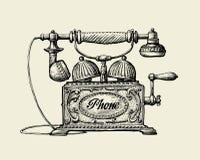 电话葡萄酒 手拉的剪影减速火箭的电话 也corel凹道例证向量 库存例证