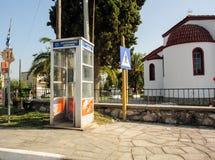 电话cabine磁卡电话在希腊 免版税库存图片
