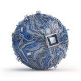 电路板与核心处理器的系统芯片 球状估计 向量例证