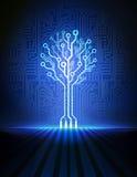 电路板树。传染媒介背景 库存例证