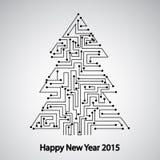 电路板,树新年 免版税库存图片