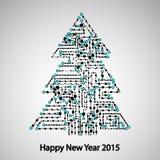电路板,树新年 免版税库存照片