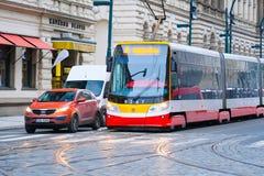 电车中止在布拉格 免版税图库摄影