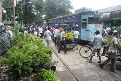 电车在加尔各答。 免版税图库摄影