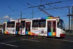 电车在圣彼德堡,俄罗斯 免版税库存照片