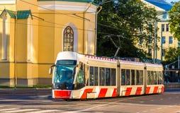 电车在塔林的市中心 库存图片