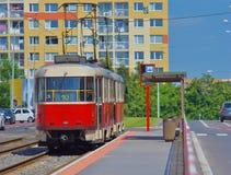 电车在布拉格,捷克 库存图片