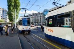 电车在日内瓦,瑞士 库存照片