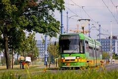 电车在波兹南在波兰 免版税库存照片
