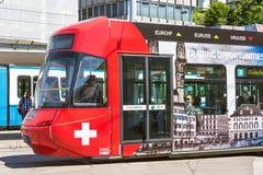 电车在瑞士苏黎士 库存图片