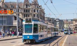 电车在瑞士苏黎士 图库摄影