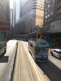 电车在铜锣湾,香港 免版税图库摄影