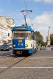 电车在Arad,罗马尼亚 免版税库存照片