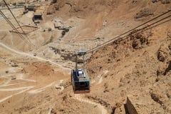 电车推力接近的看法在马萨达堡垒的在Judean沙漠 库存照片