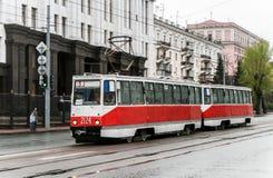 电车模型71-605 免版税库存照片