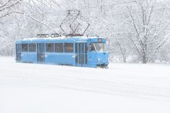 电车沿街道去在暴风雪期间在莫斯科 库存图片