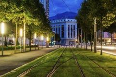 电车路轨在格勒诺布尔 免版税库存照片
