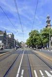 电车路轨在阿姆斯特丹老镇 库存照片