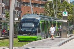 电车轨道停止在一个驻地在市毕尔巴鄂,西班牙 免版税库存照片