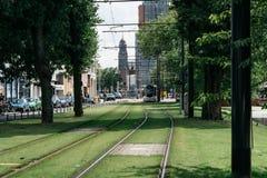 电车轨道在一个公园在鹿特丹 免版税库存照片
