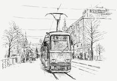 电车轨道在一个大城市 图库摄影