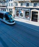 电车轨道在史特拉斯堡从上面 库存照片