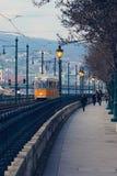 电车轨道在布达佩斯 免版税图库摄影