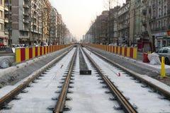 电车轨道在格勒诺布尔运转 库存照片