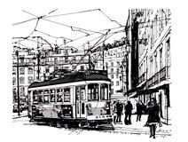 电车轨道在里斯本 向量例证