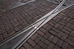 电车轨道在阿姆斯特丹 库存照片