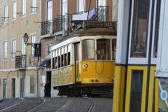 电车轨道在Alfama区 免版税库存照片