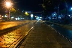 电车道在晚上,旧金山 免版税库存图片