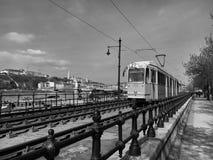 电车铁路建筑细节在布达佩斯 免版税库存图片