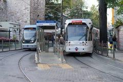 电车驻地街市在伊斯坦布尔 库存照片