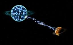 电闪电行星 免版税库存图片