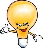 电兴高采烈的电灯泡 免版税库存照片