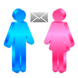 男人、妇女和信包 免版税库存图片