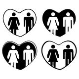男人和妇女传染媒介象在心脏 图库摄影