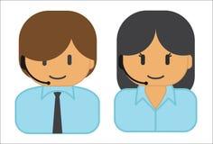 男人和妇女佩带的耳机 免版税库存图片